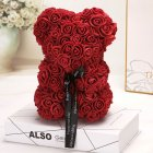 Artificial Foam Rose Bear Doll Toy with Bowknot for Festival Wedding Party Decoration wine Red