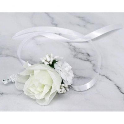 Artificial Wrist Flower /Corsage for Wedding Party Bride Bridegroom Accessories white wrist flower