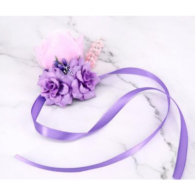 Artificial Wrist Flower /Corsage for Wedding Party Bride Bridegroom Accessories Citron purple brooch