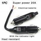 Auto Car Male Cigarette Lighter Socket Connector Plug 12V 10A W/ LED + Fuse