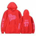 BLACKPINK 2D Pattern Printed Hoodie Leisure Pullover Top for Man and Woman Red 5_M