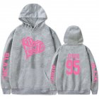 BLACKPINK 2D Pattern Printed Hoodie Leisure Pullover Top for Man and Woman gray_M