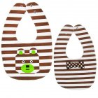 Baby Bib Feeding Bib Two-sided Waterproof Cartoon Printed Saliva Towel Baby Product Stripe Bear