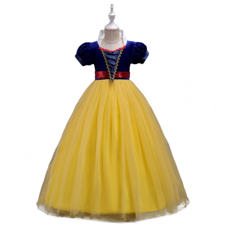 Baby Girl Stylish Tutu Princess Dress Lovely Bowknot Decoration Dress for Halloween  yellow_130cm