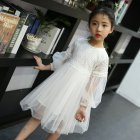 Baby Kids Girls Elegent Lace Mesh Tutu Princess Dress  creamy-white_160cm
