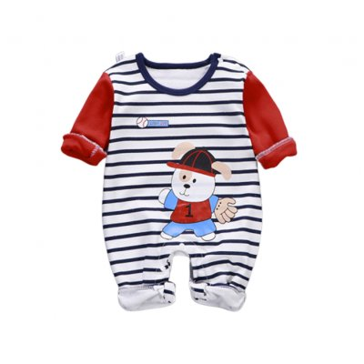 Baby Piece Jumpsuits Cotton Long Sleeve Tops for Daily Out Wearing Cartoon bear (striped cartoon bear baseball uniform)_59
