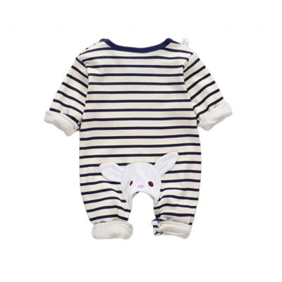 Baby Piece Jumpsuits Cotton Long Sleeve Tops for Daily Out Wearing Blue stripes (striped blue with bunny)_80