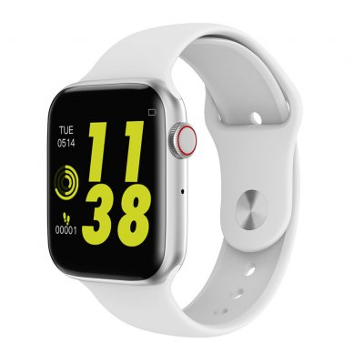 Bluetooth 4.0 Smartwatch 1.54 inch Touch Screen Watch with Rubber Bracelet Heart Rate Monitor white