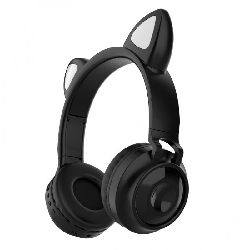 Bluetooth 5.0 Ear Headphones Foldable Stereo Wireless Set Mic LED Light Volume Control Support For Kids black
