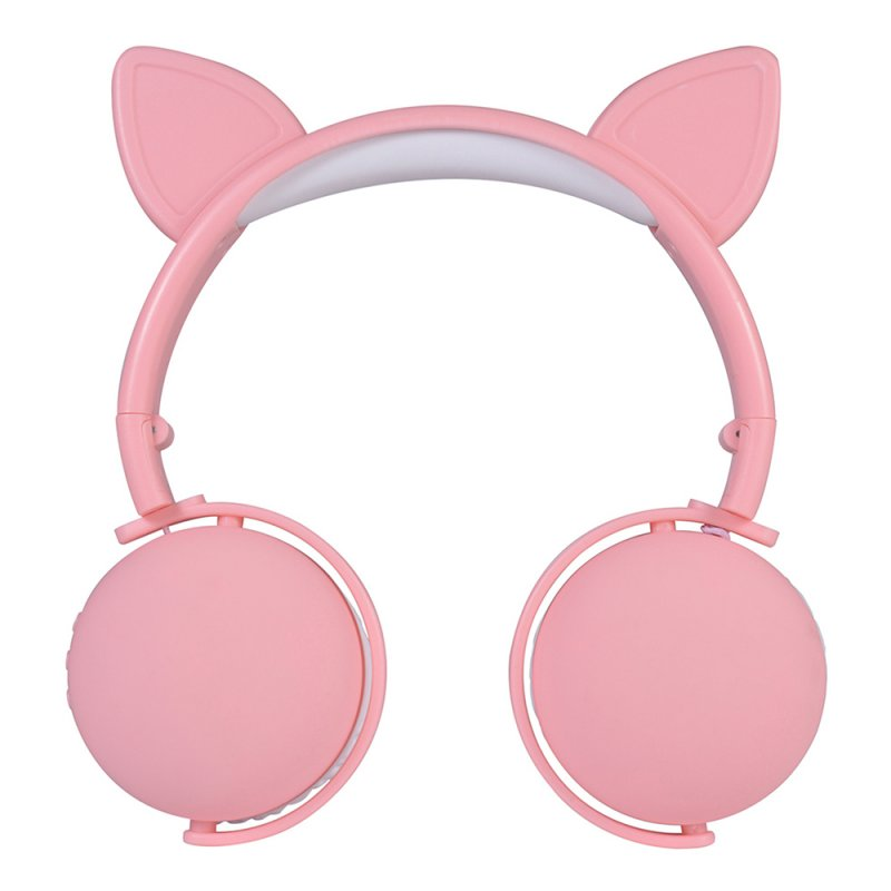 Bluetooth 5.0 Headphone Cute Cat Ears Wireless Folding Earphones Stereo Noise Reduction Children Headset with Mic for Adult Cat ears (pink)