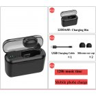 Bluetooth Earphone Sports Wireless Mini HiFi Handsfree Headphone Stereo Sound Earbuds Gaming Headset with Charging Box black