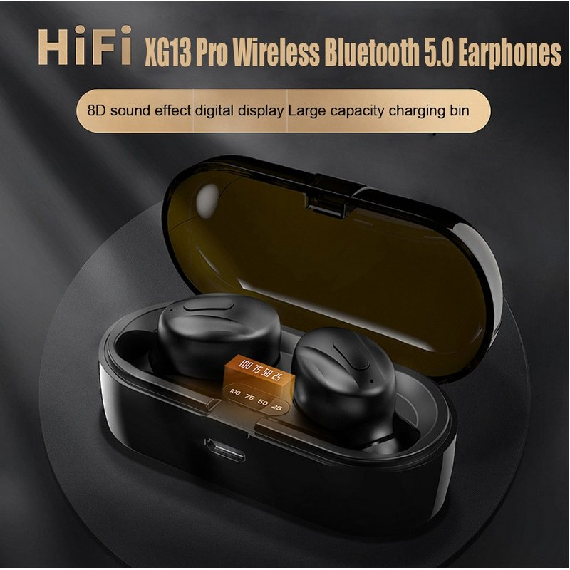 Bluetooth Headset Wireless IPX4 Waterproof Stereo Built-in Sports Microphone TWS 5.0 Headset black