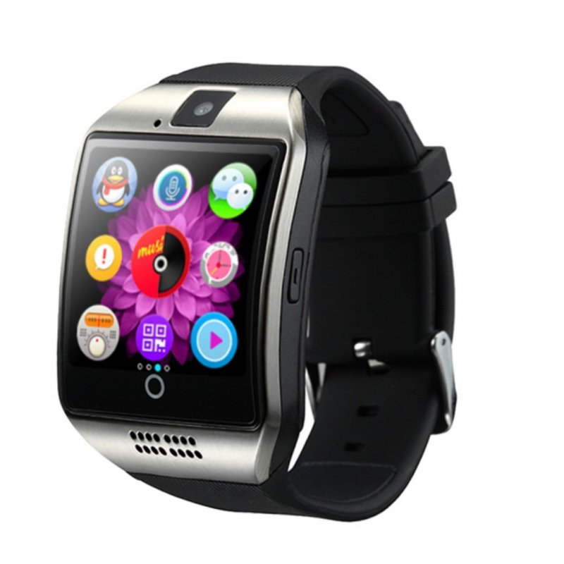 Bluetooth Smart Watch Men Q18 With Touch Screen Big Battery Support TF Sim Card Camera for Android Phone Smartwatch Silver