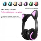 Bluetooth Stereo Cat Ear Headphones Flashing Glowing Cat Ear Headphones Gaming Headset Earphone with 7 Colors LED Light Cat ears
