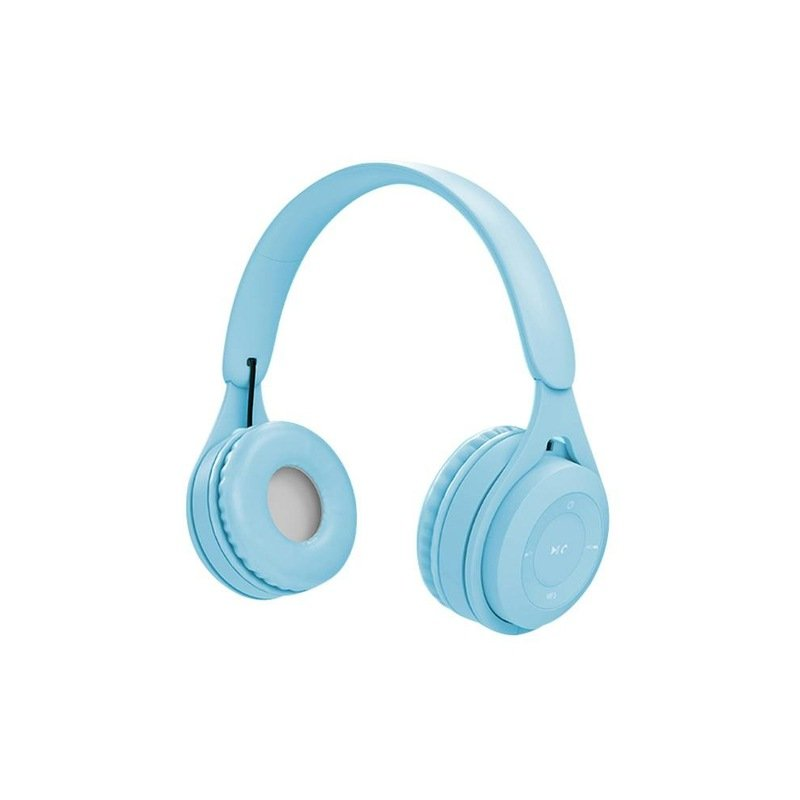 Bluetooth Wireless Headphones Macaron Color Hifi Music Auto Pairing Earphones Can Inserted TF Card Headsets blue