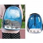 Breathable Pet Cat Dog Backpack Space Capsule Travel Bag for Outdoor Carrying Blue