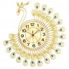 Peacock Wall Clock with 40pcs Diamonds Decora