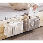 Caddy Hanging Organizer Bedside Storage Bag for Bunk and Hospital Beds, Dorm Rooms Bed Rails Upgrade white