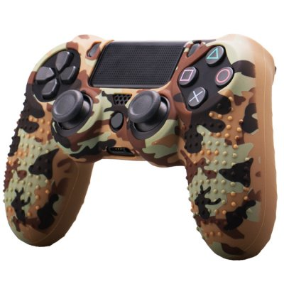 Camouflage Soft  Silicone Case Skin Grip Cover for  4 PS4 Controller  coffee