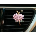 Car Air Vent Decoration Car Interior Decoration Rhinestone Ballet Girl Car Air Freshener Clip with Fragrance Cotton Pads  purple