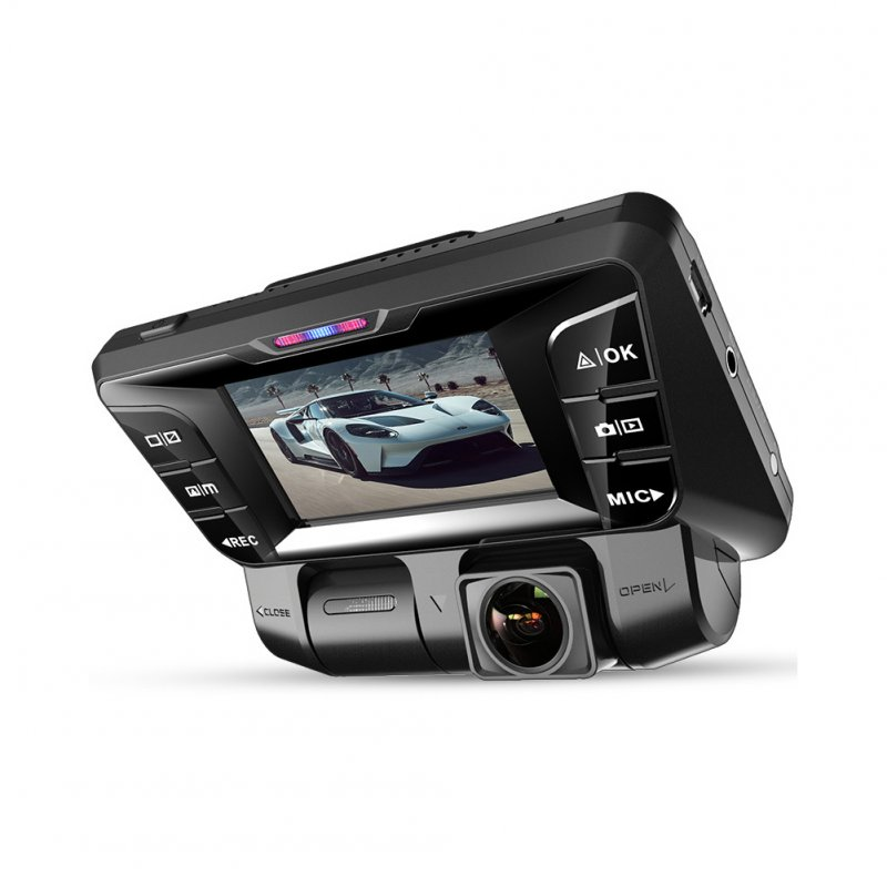 Car Dashcam V28 HD Night Vision Dual Lens Panoramic 24-hour Parking Wireless Monitoring  black