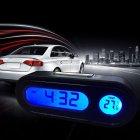 Car Mini Electronic Clock Time Watch Auto Dashboard Clocks Luminous Thermometer  black