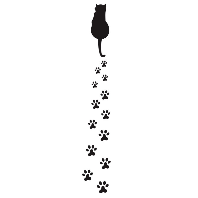 Car Sticker Cat Dog Animal Bear Footprints Paw Footprint Cool Design Car Stickers Car Styling Decal black