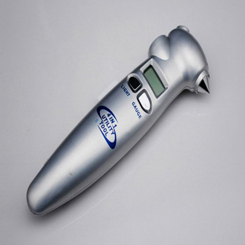 Car Tire Pressure Gauge Digital 4 in 1 Multi-function LCD Display Tire Meter Silver