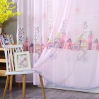 Cartoon House Printing Curtain Tulle for Living Room Bedroom Children Room Window Screening Pink christmas room paper print_1m wide x 2m high