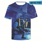 Casual 3D Cartoon Pattern Round Neck T-shirt Picture color Q_M