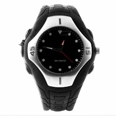 Black Wrist Watch MP3 Player 1GB - Waterproof + LINE IN