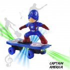 Children Cartoon Movie Figure Simulation Scooter Electric Rotating Tumble Toys Captain America scooter