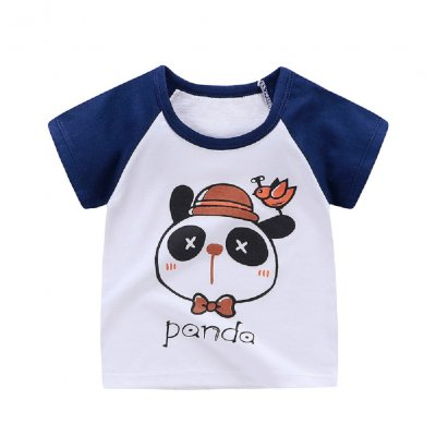 Children Cartoon Pattern Short Sleeve T-shirt Boys Girls Soft Cotton Tops T-shirt - bear blue_120cm.