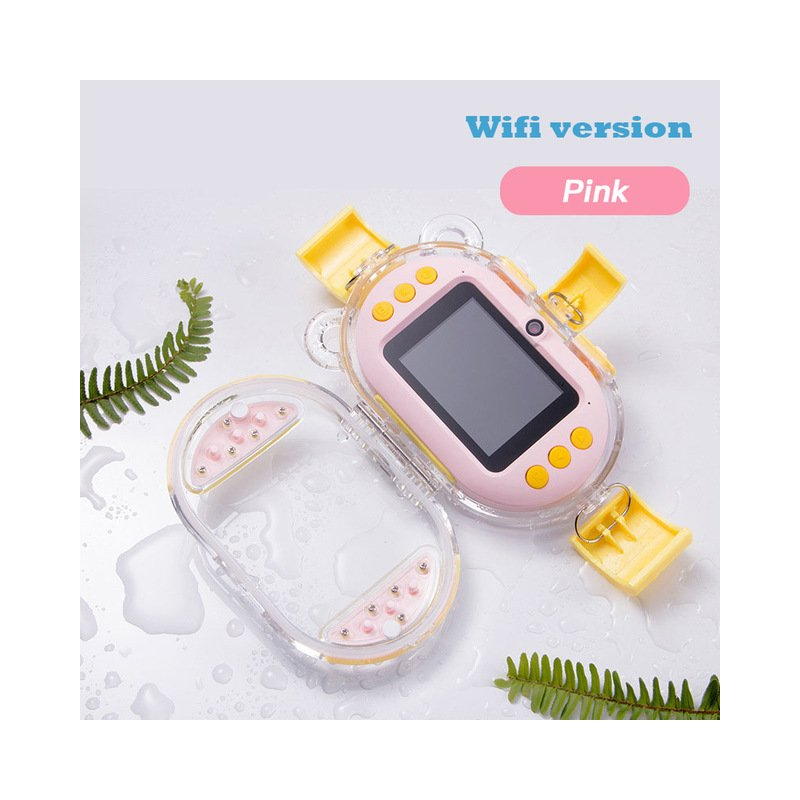 Children Digital Camera 2.4inch 8MP HD 1080P WiFi Dual Lens IP68 Waterproof Kids Camera Birthday Gift Children Photograph Pink