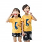 Children Short Sleeve Cartoon Pattern T-shirt Boys Girls Undershirt JD yellow dinosaur_130(suitable for 120-130cm)