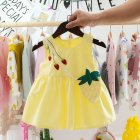 Children Toddler Kids Printed Strawberry Sleeveless Princess Dress+Bag Outfit yellow_100cm