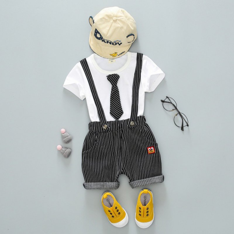 Children Two-piece Suits of Short Sleeves Top+Strips Suspender Shorts Leisure Outfits for Boys White_100cm