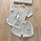 Children Unisex Short-sleeved Boys Girls Striped Cartoon T-shirt + Shorts Suit blue grizzly_110