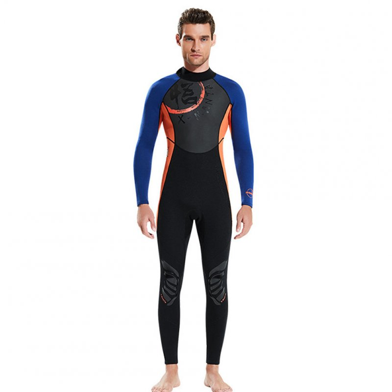 Chinese Style Diving Suit 1.5MM Warm Siamese Long Sleeve Surfing Jellyfish Suit Male orange_M