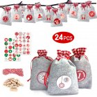 Christmas Advent Calendar with Number Stickers Bags Countdown Home Decoration Red gray 10 15cm