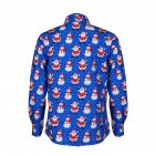 Christmas Cartoon Printing Male Lapel Shirt Men Blouse Shirt for Man Navy blue_S