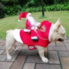 Christmas Coat Santa Claus Rides Deer Shape Costume for Pet Dog Party Cosplay M