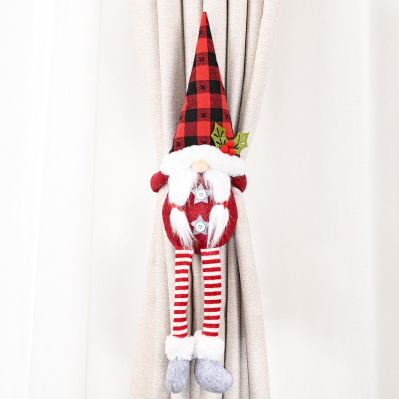 Christmas Curtain Tieback Holder Fastener Buckle Window Ornaments Decorations red