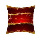 Christmas Cushion Cover 45*45 Red Merry Christmas Printed Polyester Decorative Pillows Sofa Decoration 25