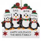 Christmas Decoration Penguin Hanging Ornament Pendant for DIY Name Family Blessings  Four penguins