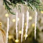 Christmas Decorations Icicle Pendant Christmas Tree Decoration white_5pcs
