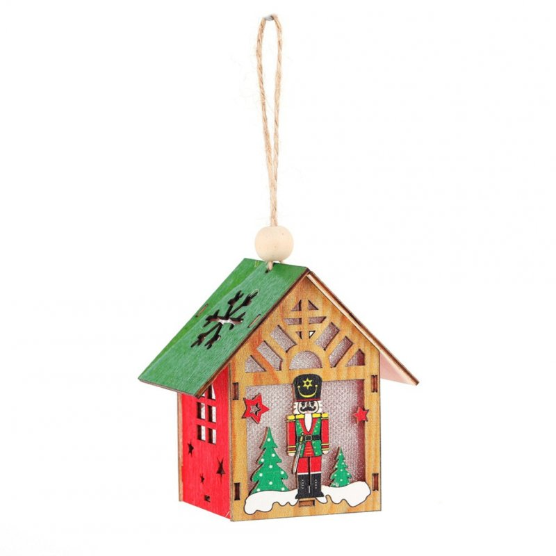 Christmas Luminous Cabin Wooden House Light Home Decoration Hanging Pendant for Kids DIY Crafts B