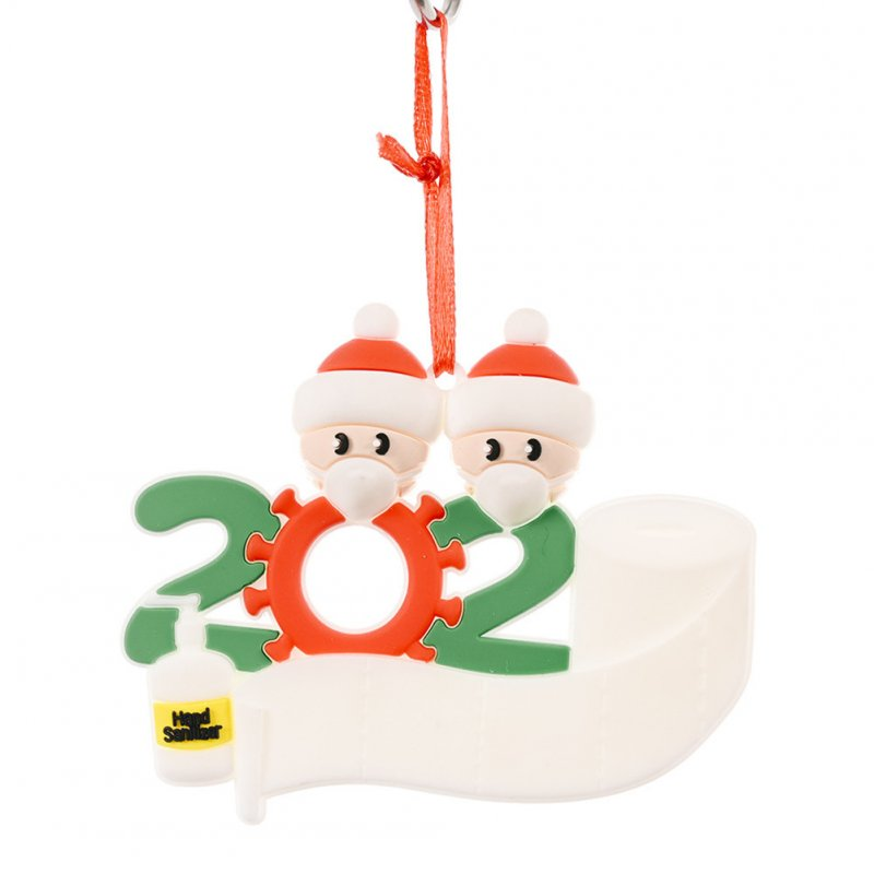 Christmas Ornament Kit with Mask Hanging Pendant Xmas Decor for Family  Mask Santa 2 heads
