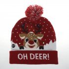 Christmas Style Knitted Hat with Pompon Decor for Kids Adults Gifts Elastic Hats Red fawn_Average size