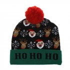 Christmas Style Knitted Hat with Pompon Decor for Kids Adults Gifts Elastic Hats Santa and fawn_Average size